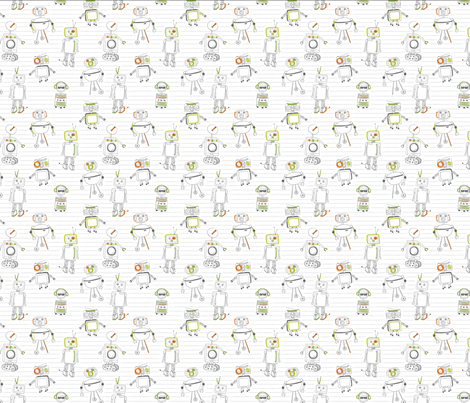 doodlebots fabric by dynasty_b on Spoonflower - custom fabric