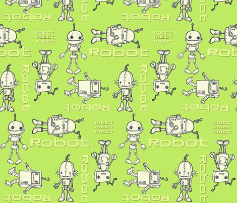 robo buddies lime fabric by mytinystar on Spoonflower - custom fabric