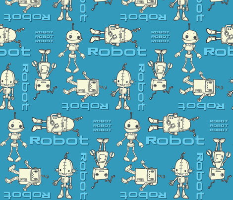 robo buddies blue fabric by mytinystar on Spoonflower - custom fabric
