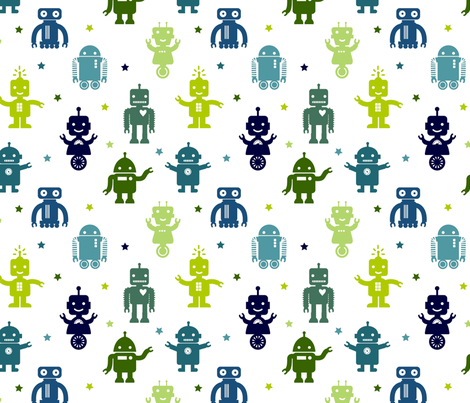 Automated Cuteness fabric by jenimp on Spoonflower - custom fabric