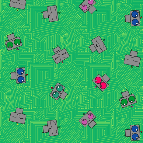 Robots fabric by leighr on Spoonflower - custom fabric