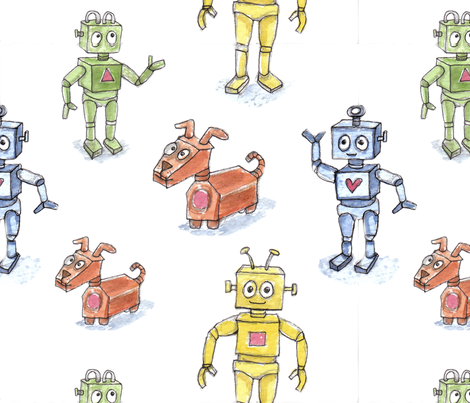 Robots & dogs fabric by mellybee on Spoonflower - custom fabric