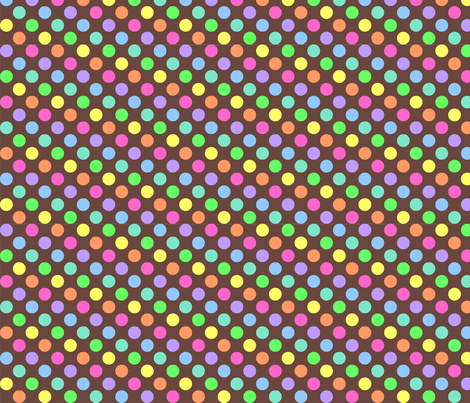 Polka Dot Rainbow brown fabric by mezzo on Spoonflower - custom fabric