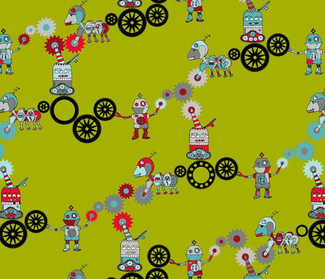Clock Robots At Work fabric by annosch on Spoonflower - custom fabric