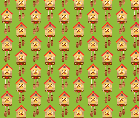 cuckoo clock repeat fabric by heidikenney on Spoonflower - custom fabric