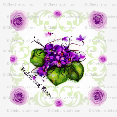 """18"""" Scarf Violets and Roses Shell Background"""