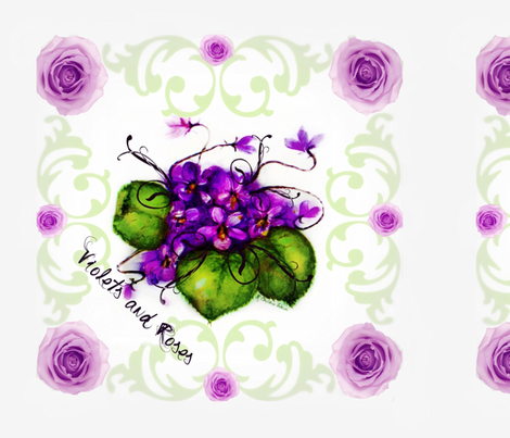 """18"""" Scarf Violets and Roses Shell Background fabric by paragonstudios on Spoonflower - custom fabric"""
