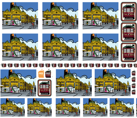 Flinders Street Station Patches fabric by upcyclepatch on Spoonflower - custom fabric