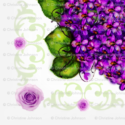 "52"" Sq Violets and Roses Shell Border"