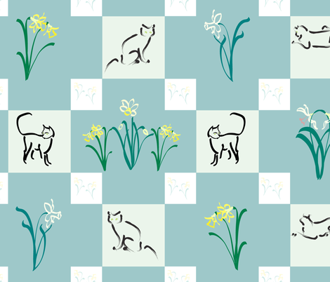 Puss-in-the Garden-quilt fabric by mina on Spoonflower - custom fabric