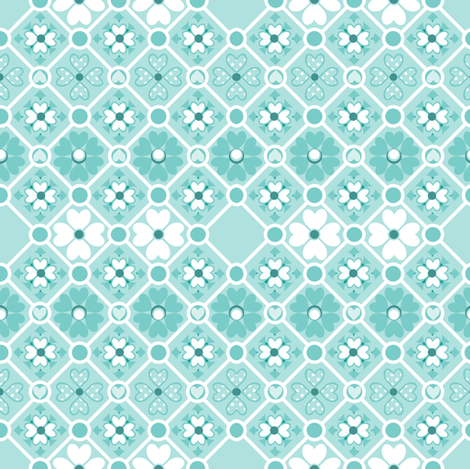 Pond Flowers in aquamarine fabric by delsie on Spoonflower - custom fabric