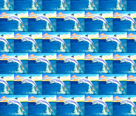 dolphin sunset fabric by mjw23 on Spoonflower - custom fabric