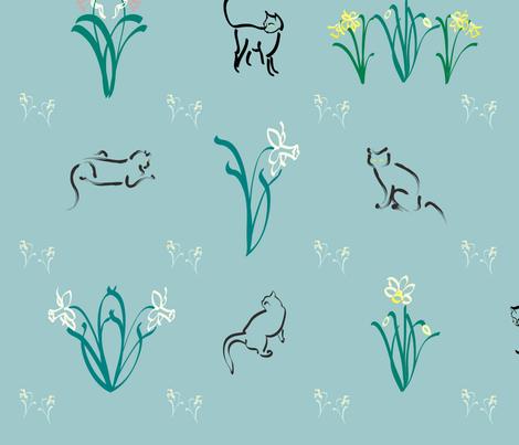 Cats-n-daffs-fabric fabric by mina on Spoonflower - custom fabric
