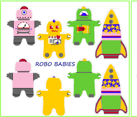 Girly Robo Babies fabric by connielou on Spoonflower - custom fabric