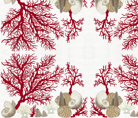 Mirrored / Red Coral and sea shells / Lt fabric by paragonstudios on Spoonflower - custom fabric