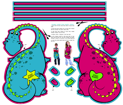 Dino Reversable Apron - Double Sided fabric by fuzzyskyfabric on Spoonflower - custom fabric