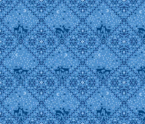 Blue deer large design fabric by neva on Spoonflower - custom fabric