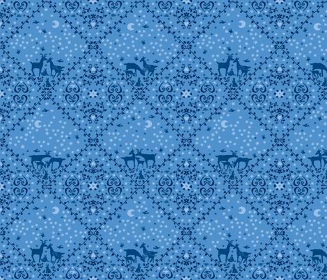 Blue deer large design fabric by neva on Spoonflower - custom fabric