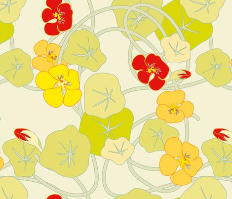 Nasturtiums Jumbo fabric by anntuck on Spoonflower - custom fabric