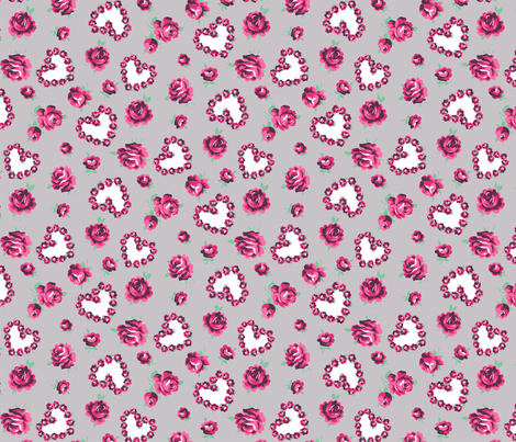 hearts and roses small fabric by minimiel on Spoonflower - custom fabric