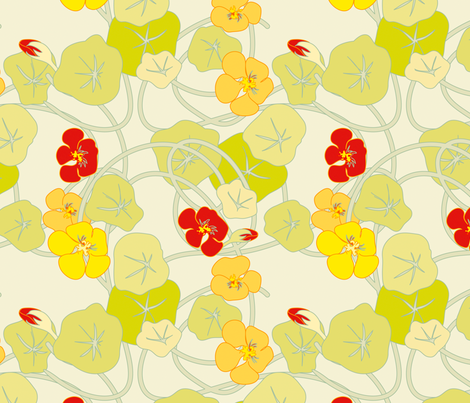 Nasturtiums Bold fabric by anntuck on Spoonflower - custom fabric
