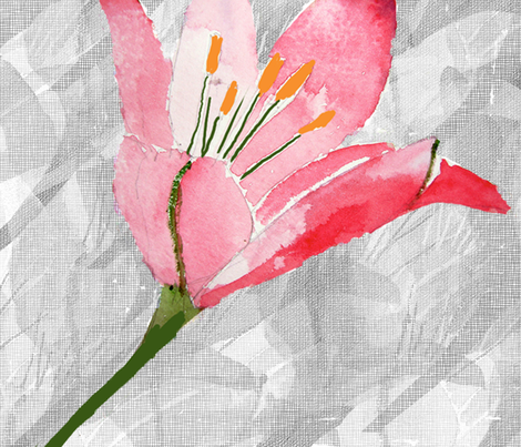 Pink Daylily large fabric by karenharveycox on Spoonflower - custom fabric