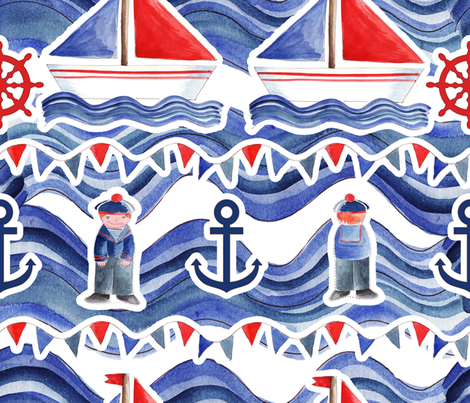 A little sailor man fabric by nadja_petremand on Spoonflower - custom fabric