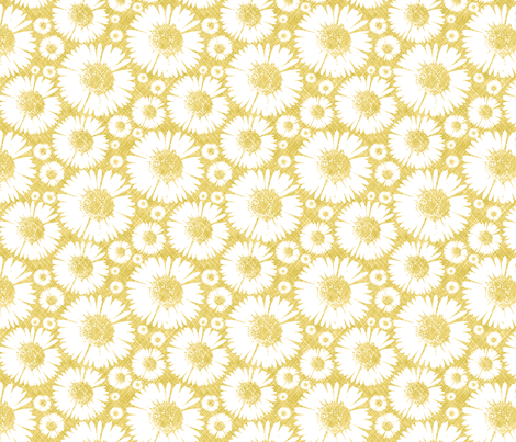 Retro Summer Daisy - Sunshine © Kristopher K  2010 fabric by kristopherk on Spoonflower - custom fabric