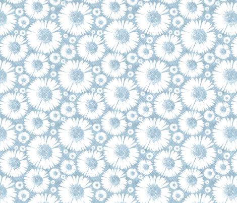 Retro Summer Daisy - Sky fabric by kristopherk on Spoonflower - custom fabric