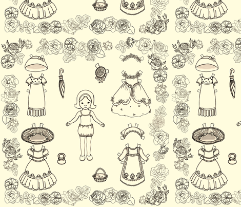 Paper Doll and Roses fabric by juliamonroe on Spoonflower - custom fabric