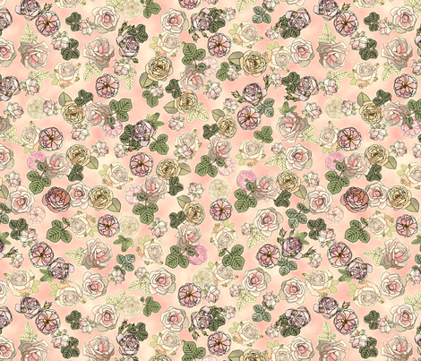 English Roses Pink fabric by juliamonroe on Spoonflower - custom fabric