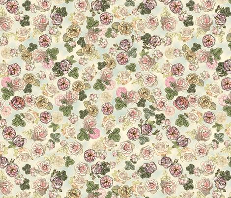 English Roses Blue fabric by juliamonroe on Spoonflower - custom fabric