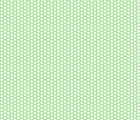 ditsy heart green fabric by flossies_garden on Spoonflower - custom fabric
