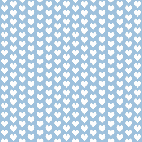 ditsy heart blue fabric by flossies_garden on Spoonflower - custom fabric