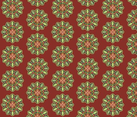 MandalaOliveTerracotta fabric by zephyrlondon on Spoonflower - custom fabric