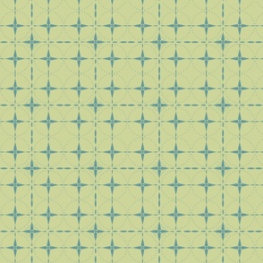 Teal Grid on Green