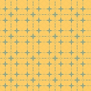 Teal Grid on Yellow