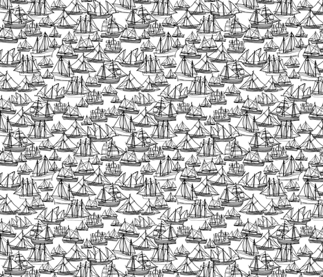 Sailing Ships - Black & White fabric by laurenhunt on Spoonflower - custom fabric