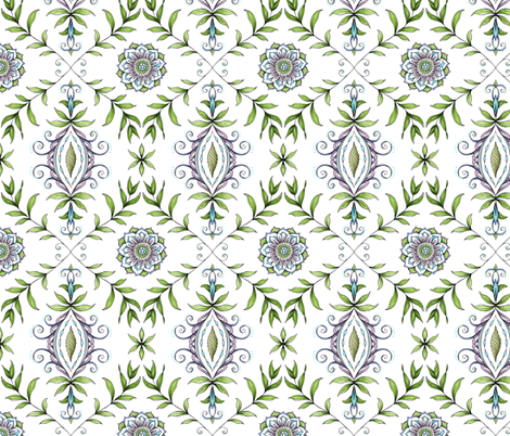 Nature's Damask fabric by pattysloniger on Spoonflower - custom fabric
