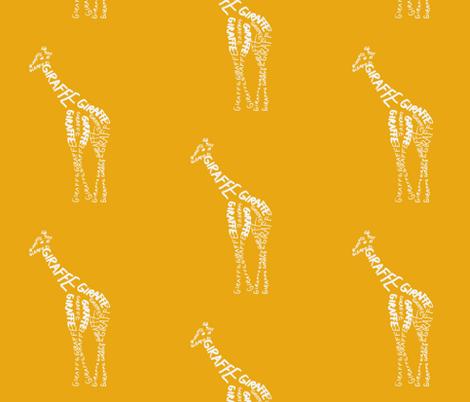 Giraffe Calligram fabric by blue_jacaranda on Spoonflower - custom fabric