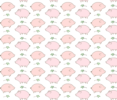 Pig and Twig fabric by zoel on Spoonflower - custom fabric