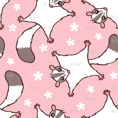 Sweet Sugar Glider with Flowers - Pink