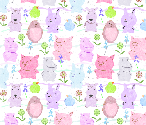 Cute Critters Pastels fabric by vinpauld on Spoonflower - custom fabric