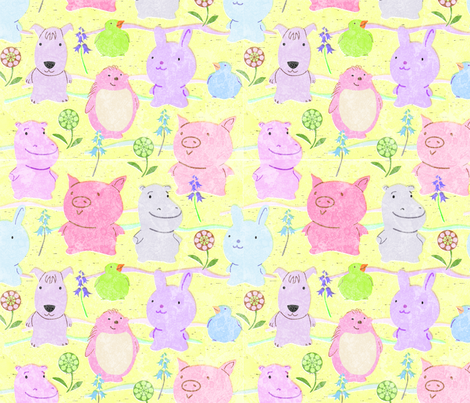 Cute Critters Yellow fabric by vinpauld on Spoonflower - custom fabric