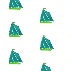 Sailboat- Blue Green