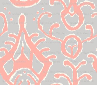 Gray and Coral Ikat