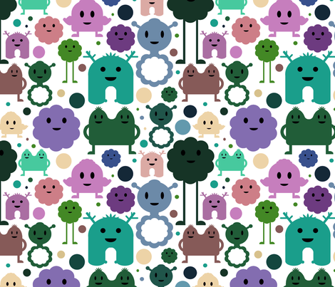 Monsters On the Loose - Teals, Purples and Greens fabric by jesseesuem on Spoonflower - custom fabric