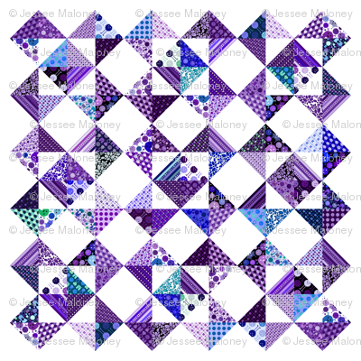 "Monster Cheater Quilt - 36""x36"" - Purples and Blues"