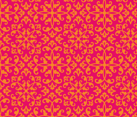 Contessa Damask - Sunrise Sonata fabric by pixeldust on Spoonflower - custom fabric