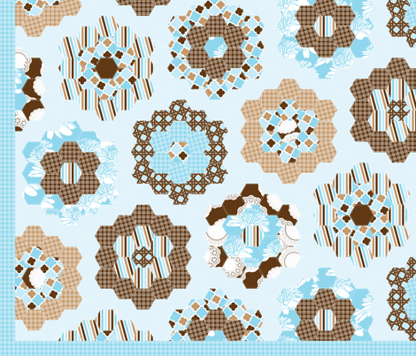 Blue Moon Hexagonal Cheater Quilt fabric by cottageindustrialist on Spoonflower - custom fabric